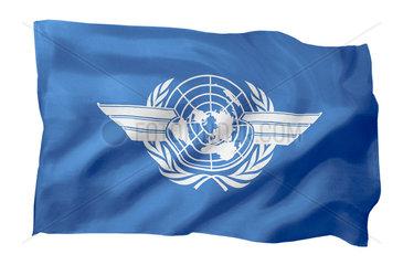 Fahne der ICAO (Motiv A; mit natuerlichem Faltenwurf und realistischer Stoffstruktur)