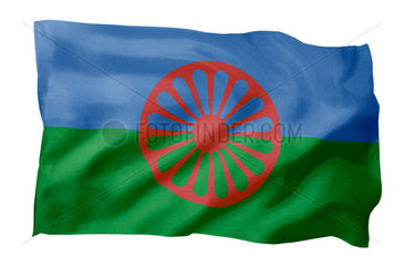 Roma-Flagge der International Romani Union IRU (Motiv A; mit natuerlichem Faltenwurf und realistischer Stoffstruktur)