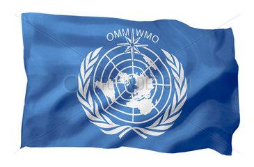 Fahne der WMO (Motiv A; mit natuerlichem Faltenwurf und realistischer Stoffstruktur)