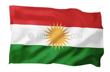 Flagge der Autonomen Region Kurdistan im Nordirak (Motiv A; mit natuerlichem Faltenwurf und realistischer Stoffstruktur)