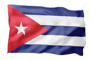 Fahne von Kuba (Motiv A; mit natuerlichem Faltenwurf und realistischer Stoffstruktur)