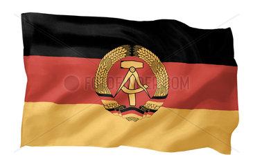 Fahne der DDR (Motiv A; mit natuerlichem Faltenwurf und realistischer Stoffstruktur)