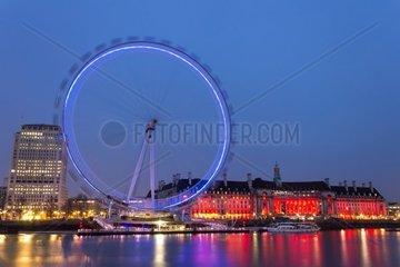 UK  England  London  the London Eye at the dusk