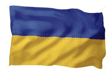 Fahne der Ukraine (Motiv A; mit natuerlichem Faltenwurf und realistischer Stoffstruktur)