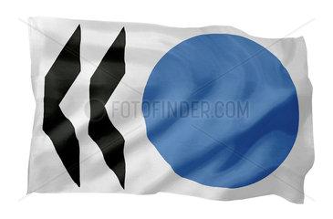 Fahne der OECD (Motiv A; mit natuerlichem Faltenwurf und realistischer Stoffstruktur)