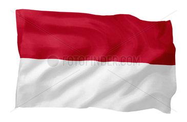 Fahne von Indonesien (Motiv A; mit natuerlichem Faltenwurf und realistischer Stoffstruktur)