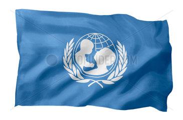 Fahne der UNICEF (Motiv A; mit natuerlichem Faltenwurf und realistischer Stoffstruktur)