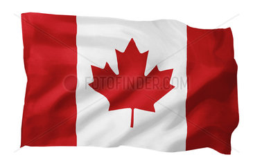 Fahne von Kanada (Motiv A; mit natuerlichem Faltenwurf und realistischer Stoffstruktur)