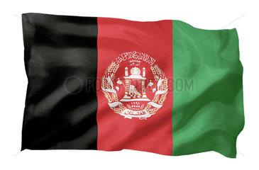 Fahne von Afghanistan (Motiv A; mit natuerlichem Faltenwurf und realistischer Stoffstruktur)