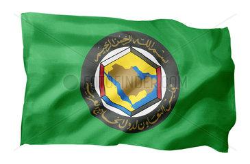 Fahne des Golf-Kooperationsrates (Motiv A; mit natuerlichem Faltenwurf und realistischer Stoffstruktur)