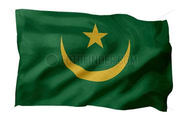 Fahne von Mauretanien (Motiv A; mit natuerlichem Faltenwurf und realistischer Stoffstruktur)