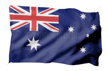 Fahne von Australien (Motiv A; mit natuerlichem Faltenwurf und realistischer Stoffstruktur)
