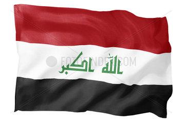 Fahne von Irak (Motiv B; mit natuerlichem Faltenwurf und realistischer Stoffstruktur)