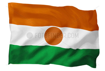 Fahne von Niger (Motiv B; mit natuerlichem Faltenwurf und realistischer Stoffstruktur)