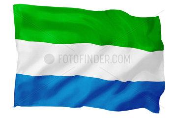 Fahne von Sierra Leone (Motiv B; mit natuerlichem Faltenwurf und realistischer Stoffstruktur)