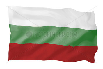 Fahne von Bulgarien (Motiv B; mit natuerlichem Faltenwurf und realistischer Stoffstruktur)