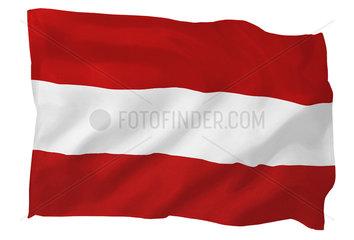 Fahne von Oesterreich (Motiv B; mit natuerlichem Faltenwurf und realistischer Stoffstruktur)