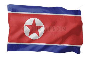 Fahne von Nordkorea (Motiv A; mit natuerlichem Faltenwurf und realistischer Stoffstruktur)