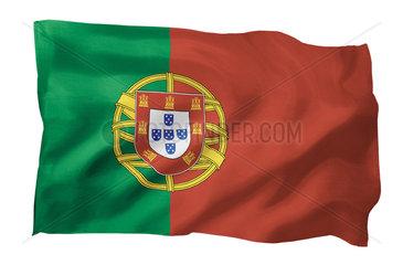Fahne von Portugal (Motiv A; mit natuerlichem Faltenwurf und realistischer Stoffstruktur)