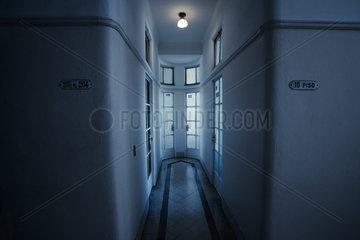 Hallway with closed doors