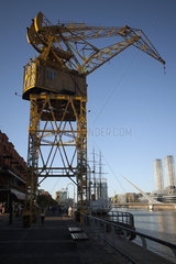 Shipping crane in city dock