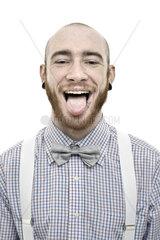 Young man his tongue