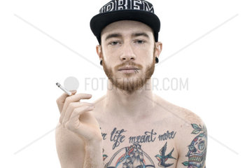 Young tattooed man