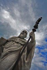 Sant Benedikt von Nursia before the basilica on the Sonntagsberg  Mostviertel Region  Lower Austria  Austria  Europe