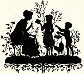 Kinder beschenken Mutter  Scherenschnitt  1887