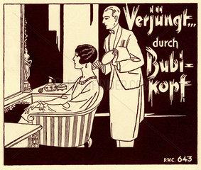 Bubikopf  Frau im Friseursalon  Kinoreklame  um 1926