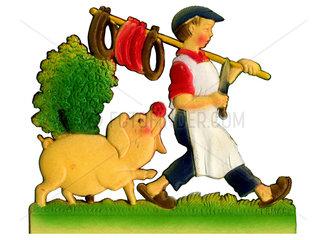 Metzger mit Schwein  Schlachttag  um 1955