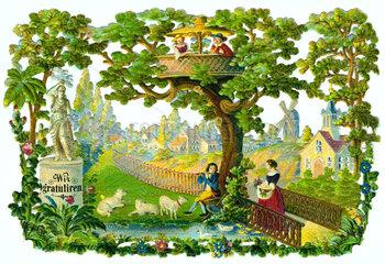 Schaeferstuendchen  Fruehling  Biedermeier  1845
