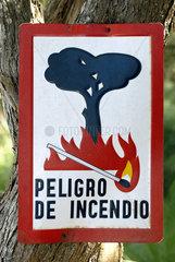 Warnschild Waldbandgefahr  Spanien