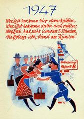 Schlangestehen  schlechte Versorgungslage in der Nachkriegszeit  1947