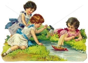 Kinder spielen am Wasser  1909