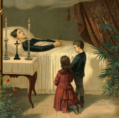 Kinder beten fuer tote Mutter  Totenbett  1884