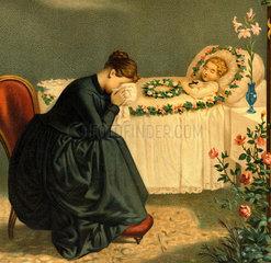Mutter weint um ihr totes Kind  Totenbett  1897