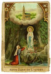 Marienerscheinung Lourdes  Gebetszettel  1895