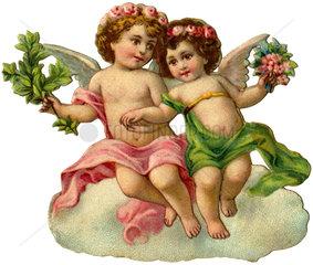 zwei Engelchen  Poesiebild  1908