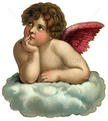 Engel auf Wolke  Poesiebild  1900