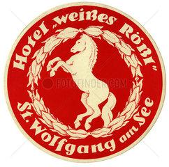 Hotel Weisses Roessl  St. Wolfgang  Kofferaufkleber  1959