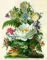 Grab mit Kreuz und Blumenschmuck  1879