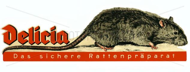 Rattenvertilgungsmittel Delicia  DDR  1950