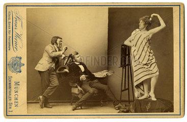 Maler und sein Modell  und ein Kritiker  Humor 1889