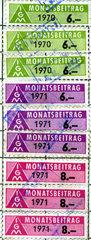 IG Metall Beitragsmarken  Gewerkschaftsbeitraege  1970  1971