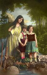 Schutzengel behuetet Kinder  1907
