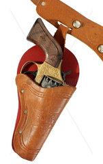 Revolver im Halfter  Spielzeug  Cowboy  um 1960