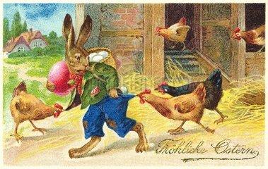 Osterhase stiehlt Ostereier  30er Jahre