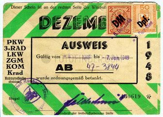 Tankausweis  Benzinrationierung  Nachkriegszeit  1948