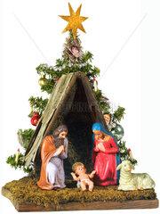 Krippe mit Christbaum  historisch